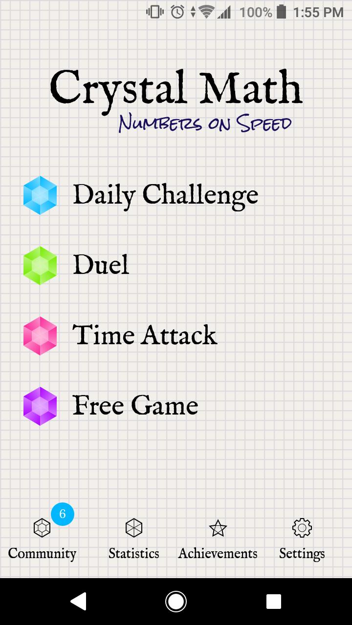 Spielmodi in der Crystal Math App