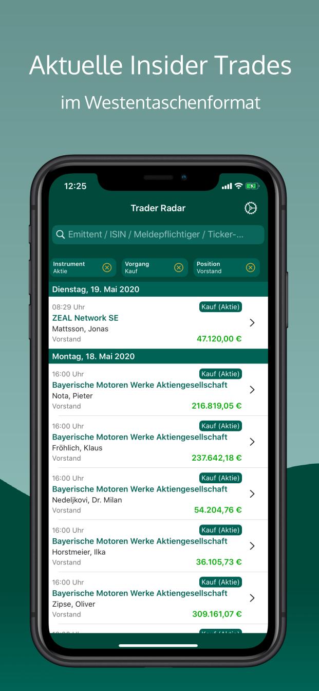 Ausschnitt der Trade Liste von Trader Radar mit dem Text Aktuelle Insider Trades im Westentaschenformat